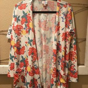 Sweaters - LuLaRoe White Floral Caroline Size XS NWT